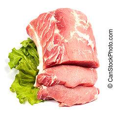 Fresh raw pork and lettuce on white background