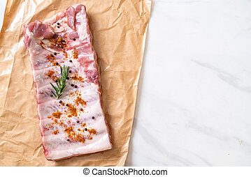 Fresh raw pork ribs ready for roasting