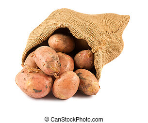 Fresh raw potatoes in burlap sack