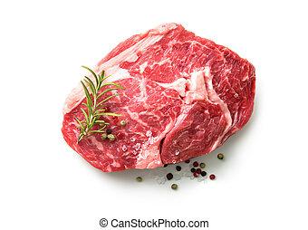 fresh raw rib eye steak isolated on white background