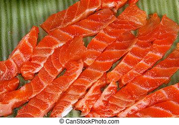 fresh raw salmon on green dish