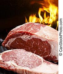 fresh raw striploin steak