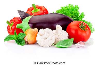 Fresh raw vegetables isolated on white background
