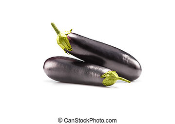 eggplants - fresh raw whole eggplants isolated on white