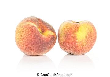 Fresh Raw yellow peach isolated on white