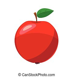 Fresh red apple icon, cartoon style