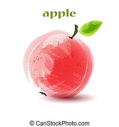 Fresh red apple on white background.