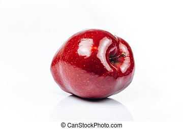 Fresh red apple on white background with beautiful reflection