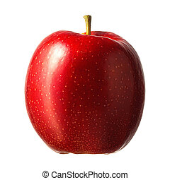 Fresh red apple on white background.