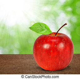 red apple - Fresh red apple with leaves