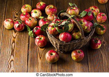 fresh red apples in a basket