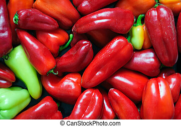 Fresh red bell peppers on the market.