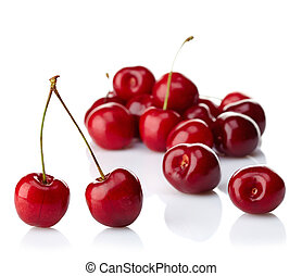 Fresh red cherries on white background
