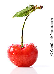 Fresh red cherry isolated on white
