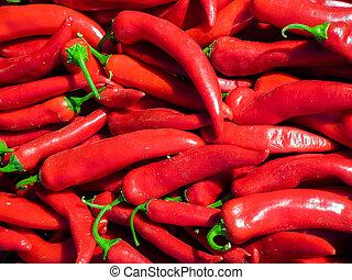 Fresh red chilli pepper on the market.