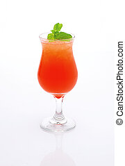 Fresh, red cocktail with ice and mint on a white background