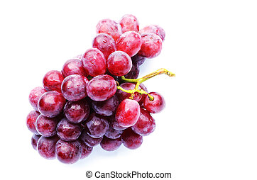 Fresh red grape with water bubble on white backgrounds