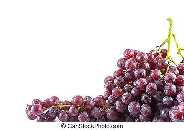 fresh red grape with water drop isolated on white