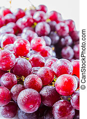 fresh red grape with water drop