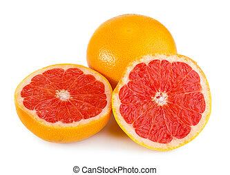 Fresh and juicy grapefruit isolated on white