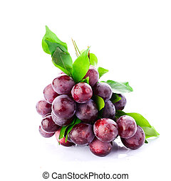 Fresh red grapes isolated on white background.