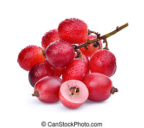 fresh red grapes with water drops isolated on white background.