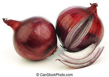 fresh red onion and a cut one