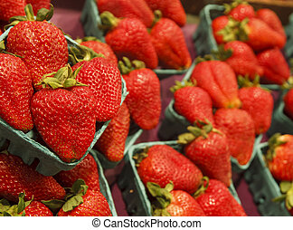 Fresh Red Strawberries at a Market