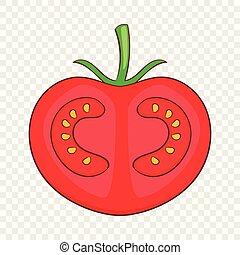 Fresh red tomato icon, cartoon style