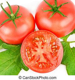 Fresh red tomato isolated on white background .