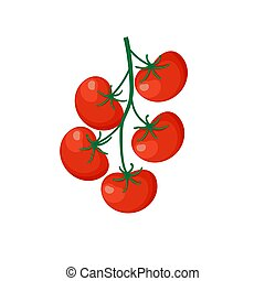 Fresh Red Tomato Vegetable isolated on white background. Tomato Icon for Market, Recipe Design. Organic Food. Cartoon Flat Style. Vector illustration for Your Design, Web.