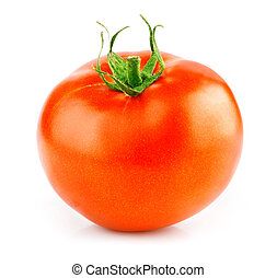 fresh red tomato with green leaf isolated