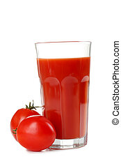 Fresh red tomatoes and tomato juice in glass isolated on white