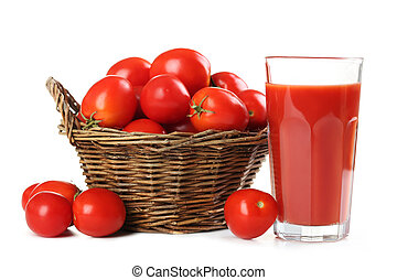 Fresh red tomatoes in basket and tomato juice in glass isolated on white