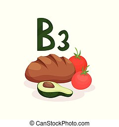 Fresh red tomatoes, rye bread and half of avocado. Food with vitamin B3. Healthy nutrition and diet theme. Flat vector design