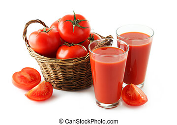 Fresh red tomatos in basket and tomato juice in glass isolated on white