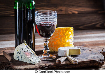 Fresh red wine with cheese