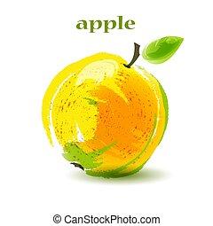 Fresh ripe apple on white background.