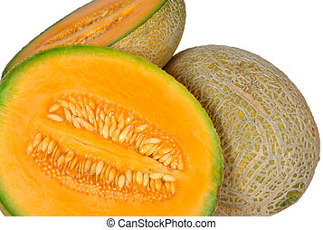 Fresh ripe cantaloup melon and halves of it, showing pulp and seeds.