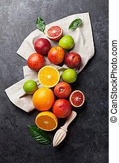 Fresh ripe citruses. Lemons, limes and oranges