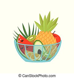 Fresh ripe fruits in a glass bowl, healthy lifestyle and diet concept vector Illustration on a white background