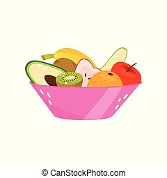 Fresh ripe fruits in pink glass vase, healthy lifestyle and diet concept vector Illustration on a white background