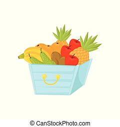 Fresh ripe fruits in plastic basket, healthy lifestyle and diet concept vector Illustration on a white background