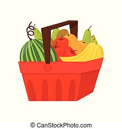 Fresh ripe fruits in red plastic basket, healthy lifestyle and diet concept vector Illustration on a white background
