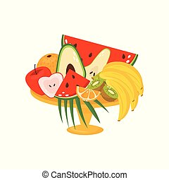 Fresh ripe fruits in vase, healthy lifestyle and diet concept vector Illustration on a white background