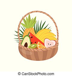 Fresh ripe fruits in wooden basket, healthy lifestyle and diet concept vector Illustration on a white background