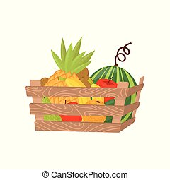 Fresh ripe fruits in wooden crate, healthy lifestyle and diet concept vector Illustration on a white background