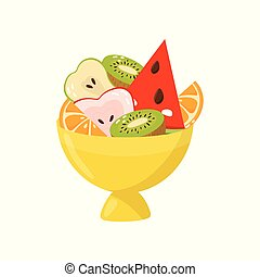Fresh ripe fruits in yellow vase, healthy lifestyle and diet concept vector Illustration on a white background