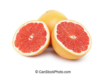 fresh ripe grapefruit, isolated on white background
