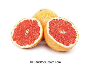 fresh ripe grapefruit, isolated on white background